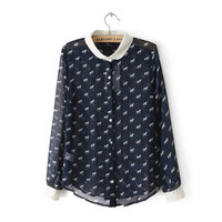 Navy Pony Pattern Collared Chiffon Blouse
