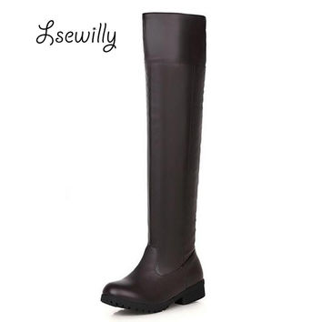 Plus Size 34-43 New Fashion 2016 Winter Women Flat Boots Women's Knights Boots Attack On Titan Cosplay Boots