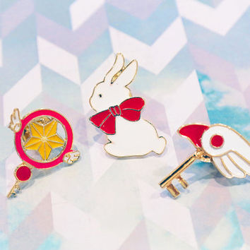Cardcaptor Sakura Brooch/ Kawaii Anime Enamel Pin/ Dormant Key Form 3 PC Set