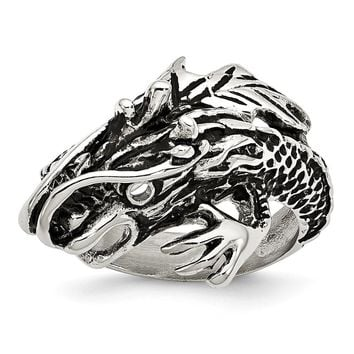 Antiqued Dragon Ring in Stainless Steel