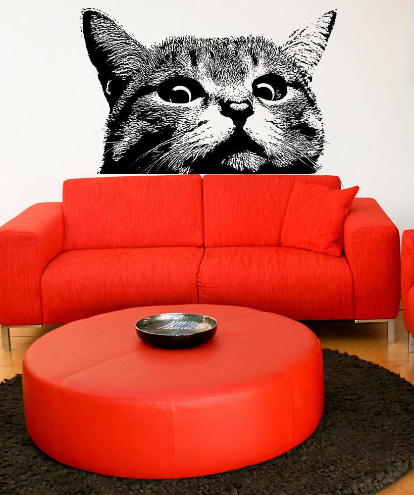 Vinyl Wall Decal Sticker Staring Cat From Stickerbrand Cats