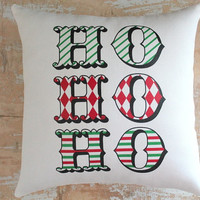 Christmas Pillow, Ho Ho Ho, Santa, Christmas Decor, Merry Christmas, Cottage Decor