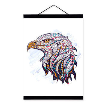Modern Ancient African National Totem Animals Eagle Head A4 Framed Canvas Painting Wall Art Print Picture Poster Home Decoration