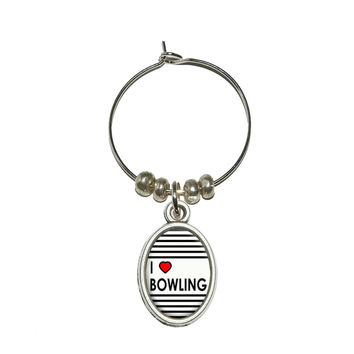 I Love Heart Bowling Wine Glass Charm