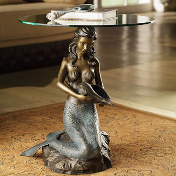 Sculpture of Sitting Mermaid Holding Snail Shell Table with Tempered Glass Top by SPI-HOME