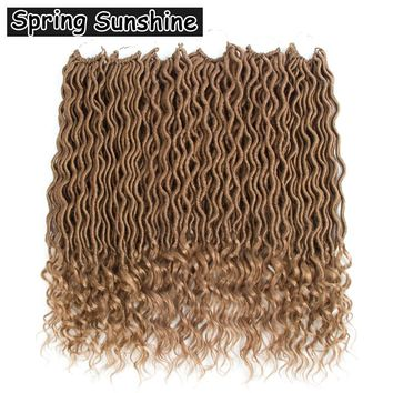 SPRING SUNSHINE 6packs Faux Locs Curly Crochet Braids 18inches 24strands 70g Crochet Hair Extensions Wavy Faux Locs Crochet Hair