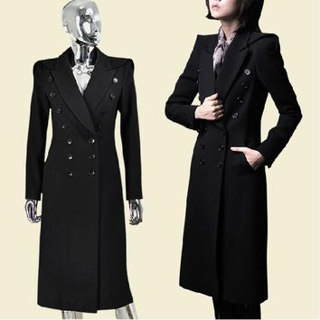 winter new military uniform double-breasted maxi winter coats woolen long trench coat