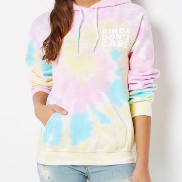 Kinda Don't Care Tie Dye Hoodie | Hoodies | rue21