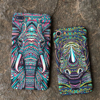 Luminous Elephant Rhinoceros Case for iPhone X 8  7Plus & iPhone se 5s 6 6 Plus Best Protection Cover +Gift Box