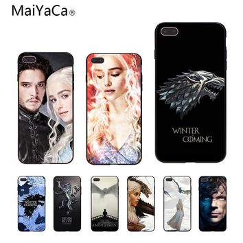 MaiYaCa Game Thrones Wolf Coque Shell Phone Case  For iPhone 5 5s XR SE 6S 6S plus 8 8plus X Mobile cover