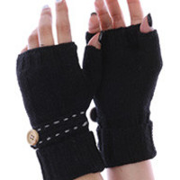 BUTTON EMBELLISHED KNITTED HANDWARMERS