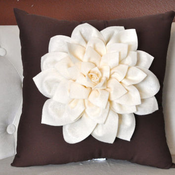 Ivory Dahlia Felt Flower on Brown Pillow NEW DESIGN by bedbuggs