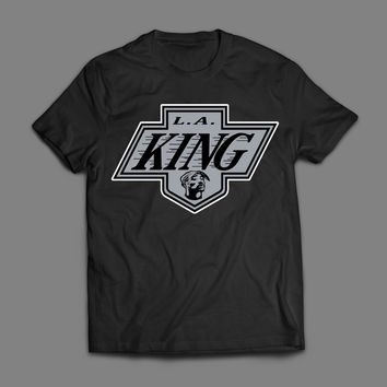 L.A. KINGS TUPAC SHAKUR HOCKEY LOGO (THE L.A. KING) MASH UP T-SHIRT