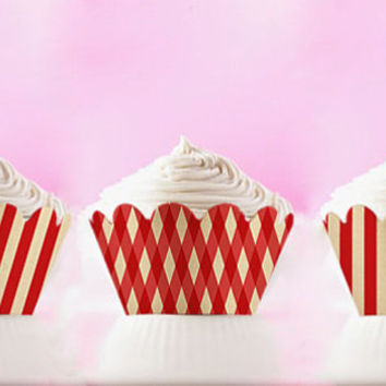 DIY Printable Cupcake Wrappers Retro Red Stripes Love INSTANT DOWNLOAD