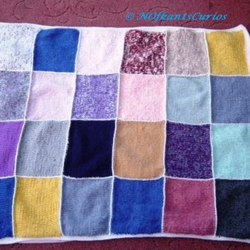 Patchwork Throw, Hand Knitted, Crocheted & Lined Cot or Lap Blanket.