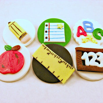 Back to School Fondant Cupcake, Cake, Cookie Toppers. Set of 12 (one dozen) 2 of each pattern.
