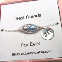 Best Friends Card With Sterling Silver Peapod Bracelet ( Choose Your Colors) Best Friend Sisters Mother's Day Gift