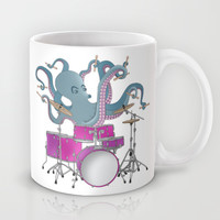 Octopus Playing Drums - Blue Mug by Ornaart