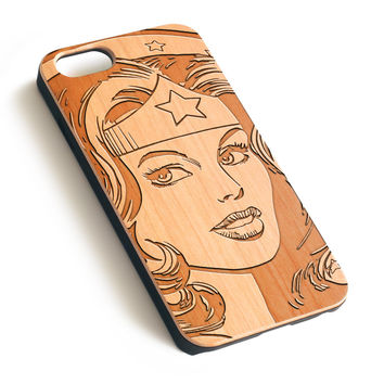 Wonder Woman Natural wood iPhone case laser engraved iPhone 7 6 6S Plus case WA014