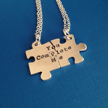 You Complete Me- Hand Stamped Puzzle Charm Necklace Set- In Copper, Brass, and Aluminum