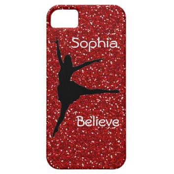 Dancer on Red Glitter iPhone 5/5S Cases
