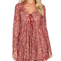 Charlie Mini Dress in Red & Nude