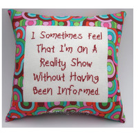 Funny Cross Stitch Pillow Cross Stitch Quote Bright by NeedleNosey