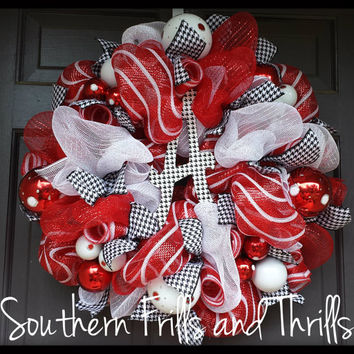 Alabama Deco Mesh Wreath, Alabama Wreath, Deco Mesh Wreath, University of Alabma, University of Alabama Wreath, Houndstooth Wreath