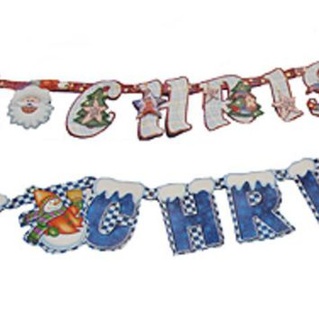 Club Pack of 72 Merry Christmas Santa Claus and Snowman Wall Banners 84""