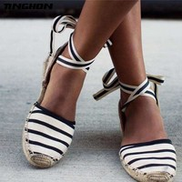 TINGHON Summer Canvas Women Espadrilles Ankle Strap Platform Sandals  Stripe Lace up Women Flat Sandals