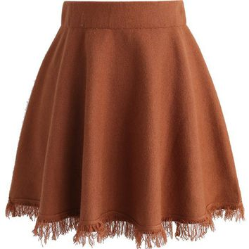 Knit Time Story Tassel Hem Skirt in Tan