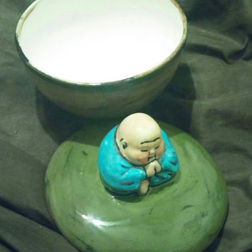 Chunky Praying Rosy Cheek Buddha Ceramic Trinket Box