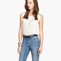 Sleeveless Satin Blouse - from H&M