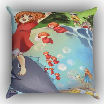 PONYO STUDIO GHIBLI Y1022 Zippered Pillows  Covers 16x16, 18x18, 20x20 Inches