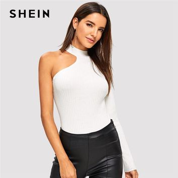 SHEIN White Casual Asymmetrical Sleeve Solid Stand Collar Slim Fitted Pullovers Sweater 2018 Autumn Personality Women Sweaters