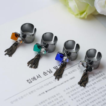 New Arrival Gift Shiny Jewelry Stylish Korean Strong Character Rhinestone Crystal Tassels Ring [6586202119]