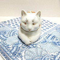 Ceramic Cat Box Trinket Holder Elizabeth Arden Tea Light Holder Vintage Home Decor Gold Ribbon