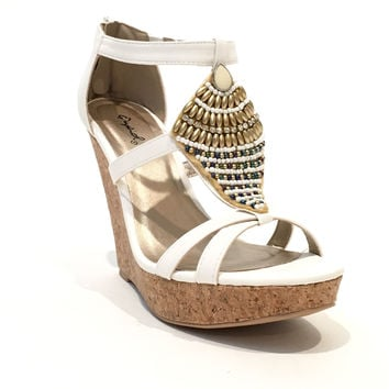 Glory Days Beaded Wedges In White