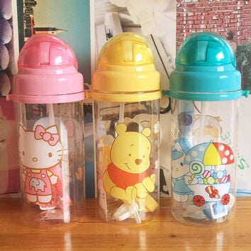 Baby Water Feeding Bottle Kid Bottles With Straw Child drinking bottle Plastic Cup Tumbler leakproof