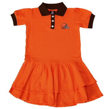 Cleveland Browns Preschool Girls Preppy Fan Polo Dress -