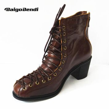 New Ladies Genuine Leather Lace Up Low Heel Women Combat Military Motorcycle Ankle Boots