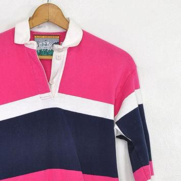 25% OFF SALE Vintage Rugby Polo ? Striped Long Sleeve Polo ? Rugby Striped Top ? Pink
