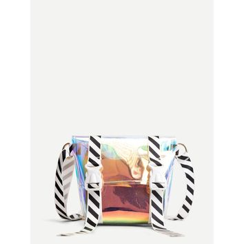 Foldover Iridescence Bag With Striped Strap