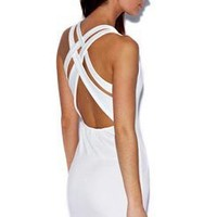 Emma Cross Over Back Bodycon Dress at boohoo.com