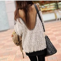 Summer Women's Fashion Sexy Backless Lace Mosaic Batwing Sleeve T-shirts Long Sleeve Bottoming Shirt [6048886721]