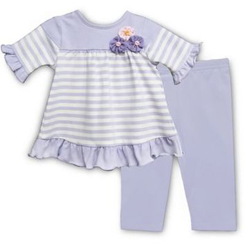 Pippa & Julie™ Lavender Striped 2-Piece Short Sleeve Tunic and Legging Set