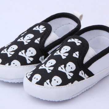Lovely Baby Boys Girls First Walkers Shoes Toddler Skull Antislip Soft Sole Kids Infant Shoe 0-12 Months SM6