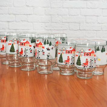 Vintage LIBBEY Christmas Village Glasses, Coolers, Set of 12