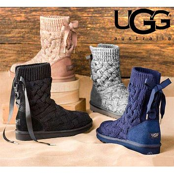 UGG Winter Classic Fashion Women Bowknot Knit Snow Boots