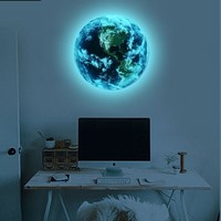 Hot sale 1PCS new Luminous blue earth Cartoon DIY 3d Wall Stickers for kids rooms bedroom wall sticker Home decor Living Room